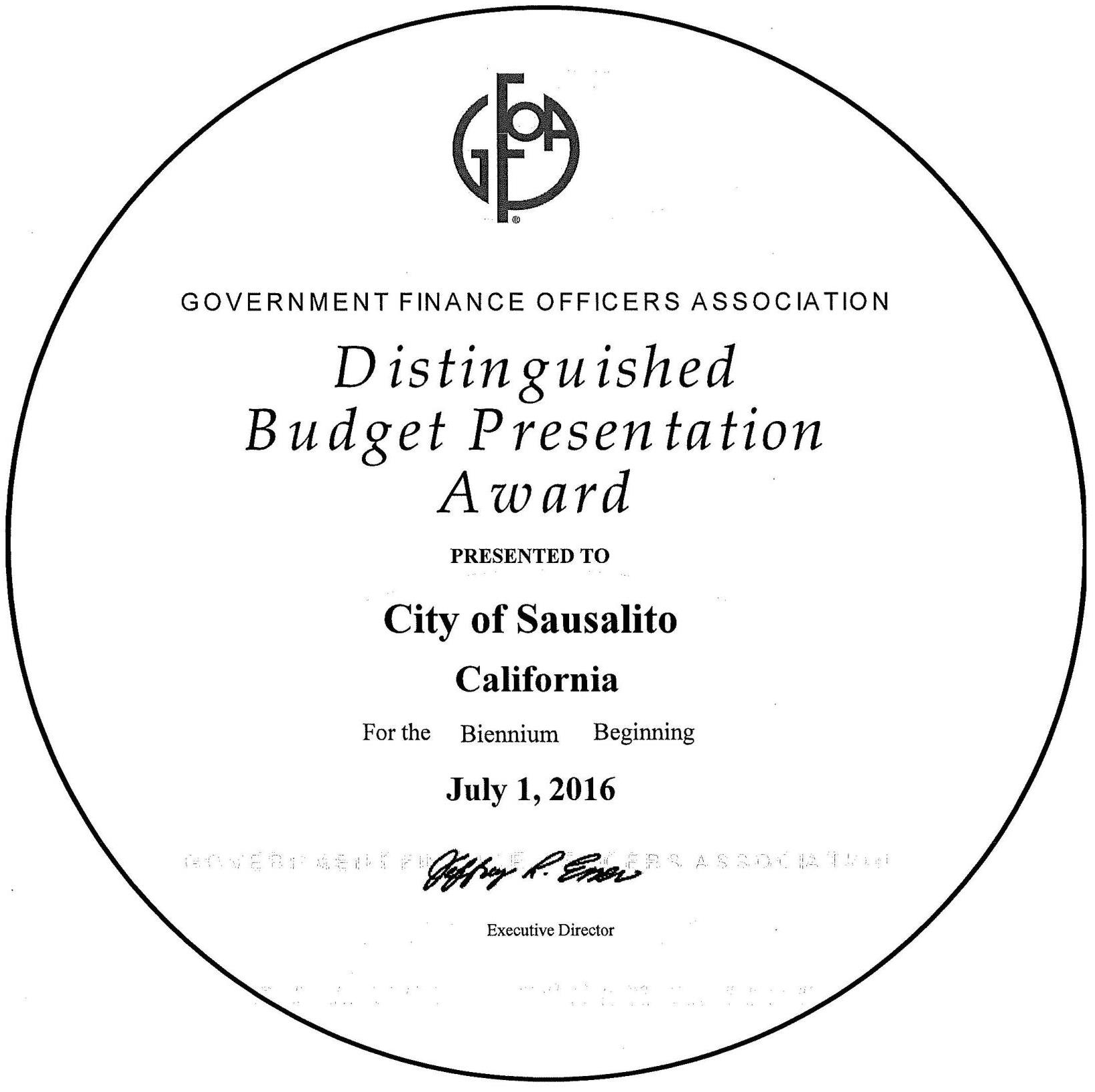 budget distinguished award 2016