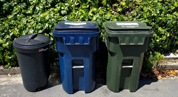 Trash and recycling bins