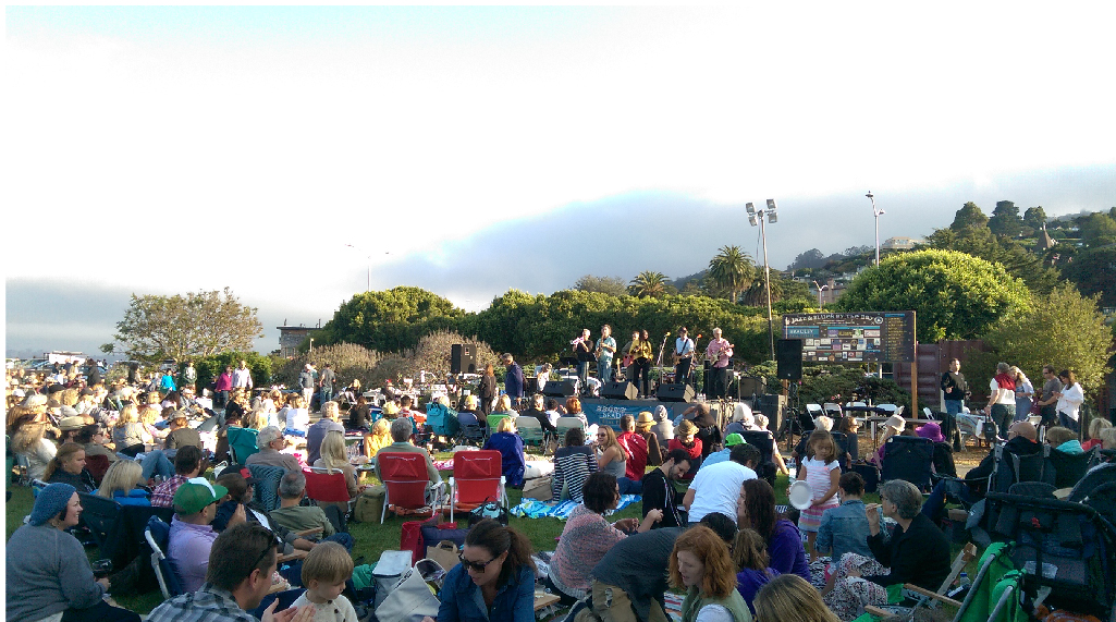 Grass seating crowd watching Anthony Paule Soul Orchestra