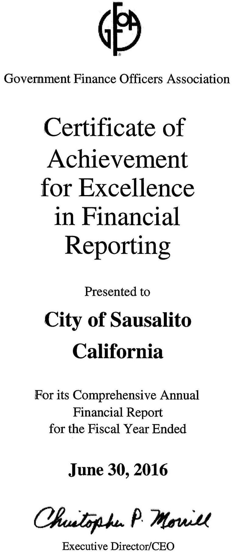 audited financial statements cafr city of sausalito